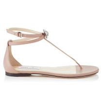 Afia Flat Flache Sandalen aus Nappaleder in Ballettrosa mit Kristallstück