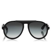 RON Aviator Sonnenbrille mit Gestell aus schwarzem Acetat und grauen Gläsern