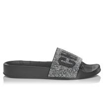 Rey/f Bade-Slipper aus schwarzem Gummi mit Kristall