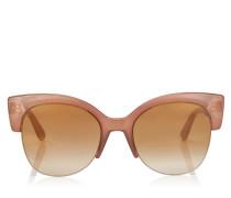 Priya Ovale Sonnenbrille aus Acetat in Nude mit Glitzerdetails