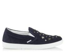 Grove Slip-On-Sneaker aus dunkelblauem Denim-Wildleder mit Sternen in Silber und Stahl
