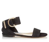 Breanne Flat Sandalen aus schwarzem Wildleder mit Bändern
