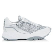 Raine Sneaker aus silbernem groben Glitzergewebe, Kalbsleder und Nappaleder in Metallic-Optik