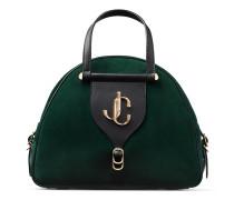 Varenne Bowling/m Bowling Tasche aus dunkelgrünem Wildleder und schwarzem Vachetteleder
