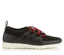 Nija Sneaker aus schwarzem Leder Mix und Netzgewebe