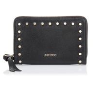Christie Brieftasche aus schwarzem Leder mit runden Nieten