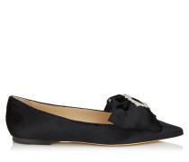 Gilly Flat Flache spitze Schuhe aus schwarzem flüssigen Samt mit juwelenbesetzer Schnalle