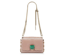 Lockett Mini Tasche aus glänzendem geperlten Pythonleder in Ballettrosa und Smaragdgrün mit Malachit-Verschluss