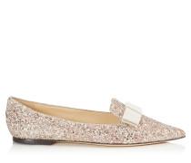 Gala Spitze flache Schuhe aus Glitzergewebe in Rosenholz-Mix mit Schleife