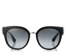 Jade Oversize Sonnenbrille in Schwarz und Palladium mit Clip-Ohrringen