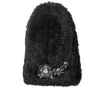 Elena Mütze aus schwarzem Fell mit Kristall-Appliqué