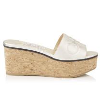 Deedee 80 Sandaletten aus gewaschenem Nappaleder in Silbermetallic mit Wedge und Logoprägung