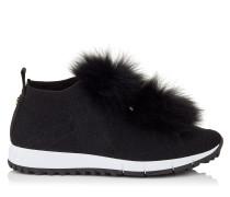 Norway Sneaker aus schwarzem Gewebe und Lurex mit Pompons aus schwarzem Fell
