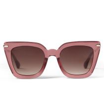 Ciara Cat-Eye Sonnenbrille in Bordeaux mit Brillenbügel in Hellgold