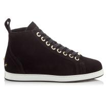 Colt/f High-Top-Sneaker aus schwarzem Samt-Wildleder mit Shearling-Fütterung