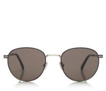 Henri Ovale Sonnenbrille aus schwarzem Metall