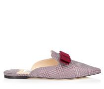 Galaxy Flat Spitze Pantolette aus Prince of Wales Glitzergewebe in Zuckerwatte mit Zierschleife