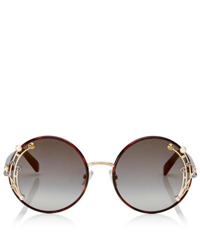 Gema Runde Metall-Sonnenbrille in dunklem Havanna mit Swarovski Kristallen und Perlen