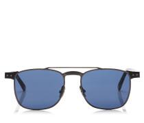 Alan Eckige Sonnenbrille aus blauem Metall und Acetat in Havana mit metallischem Gestell