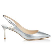 Erin 60 Spitze Slingback-Pumps aus flüssigem Glanzleder in Silber