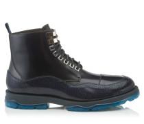 Baldwyn Stiefel aus marineblauem glänzendem Kalbsleder mit Eidechsen-Print
