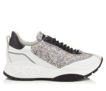 Raine Sneaker aus Kalbsleder in Platin Mix und bemaltem groben Glitzergewebe