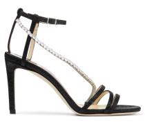 Thaia 85 Sandaletten aus schwarzem Gewebe in Metallic-Optik mit Kristallkette