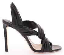 Lalia 100 Sandalen aus schwarzem Nappaleder mit Lederrüschen