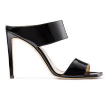 Hira 100 Sandaletten aus schwarzem glanzvollem Lackleder