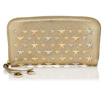 Filipa Brieftasche aus goldenem Glitzerleder mit metallischen Sternen in Rose Gold