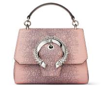 Madeline TOP Handle/s Handtasche aus Leder in Ballettrosa mit Eidechsen-Print, Tragegriff und kristallbesetzter Schnalle