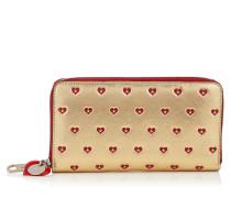 Milly Portemonnaie mit umlaufendem Reißverschluss aus goldenem Leder in Metallic-Optik mit rotem Herzen-Print