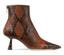KIX 65 Spitze Booties aus braunem Leder mit Schlangen-Print