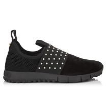 Oakland/f Sneaker aus schwarzem Samt-Wildleder und Stretch-Netzgewebe mit Perlen