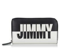 Carnaby Reisebrieftasche aus zweifarbigem Leder in Schwarz und Weiß mit Logo