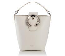 Madeline Bucket Henkeltasche aus Ziegen- und Kalbsleder in Latte mit kristallbesetzter Schnalle