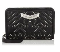 LEA Portemonnaie aus schwarzem Nappaleder mit Stern-Matelassé und kleinen Nieten