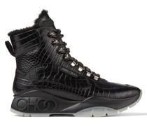 Inca/f Sneaker aus schwarzem Leder mit Kroko-Prägung und Shearling-Fütterung