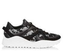 Seattle Sneaker aus schwarzem Leder, Meschgewebe und Blumenspitze