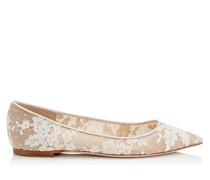 Romy Flat Flache spitze Schuhe aus elfenbeinweißer Blumenspitze