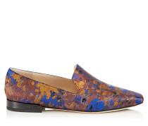 Jaida Flat Flache Schuhe aus bemaltem Brokatgewebe in Pop Blau Mix