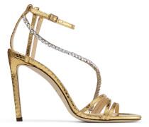 Thaia 100 Offene Sandaletten aus goldenem Leder mit Natterrelief und Kristallkette