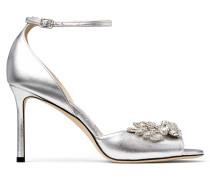 Tris 85 Sandaletten aus Leder mit Fell-Print und Animal-Muster in Schwarz und Weiß