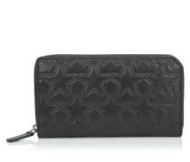Carnaby Reisebrieftasche aus schwarzem Leder mit Sternrelieflogo