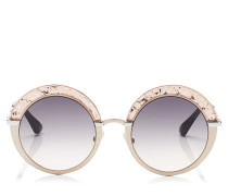 Gotha Sonnebrille mit rundem goldenem Gestell mit Glitzer