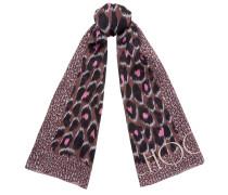 Kristi Stola aus traubenfarbener Seide mit Leoparden-Print