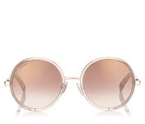 Andie Runde Sonnenbrille aus goldenem Glanz-Azetat und silber-goldenen Kristall-Details