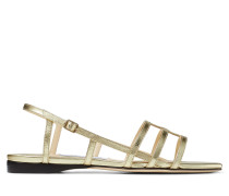 Arien Flat Flache Sandaletten aus Nappaleder in Gold in Metallic-Optik