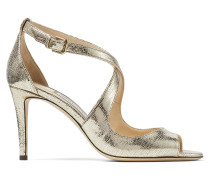 Emily 85 Sandaletten aus goldenem Leder mit Eidechsen-Print in Metallic-Optik