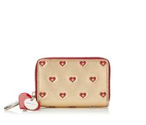 Tally Kleines Portemonnaie mit umlaufendem Reißverschluss aus goldenem Leder in Metallic-Optik mit rotem Herzen-Print
